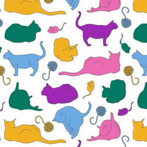 Coloful Cats with Toys