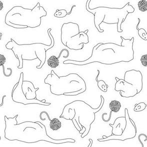 Black Cat Outlines on White