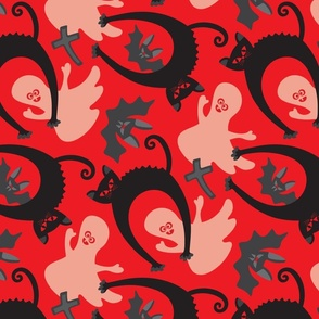 Spooky Halloween Black Cat Ghost Bat Gravestone Red Black White Grey - SMALL Scale - UnBlink Studio Jackie Tahara