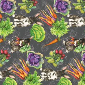 bunny and veg on gray doubble layered pattern -01