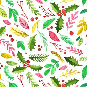 Watercolor Holiday Christmas Botanicals - Holly, Berries, Pine