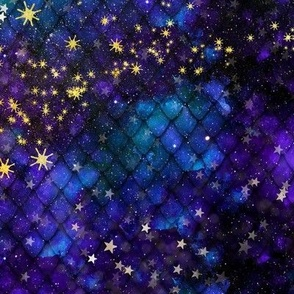 """Blue Galaxy with Stars on Scales 24"""""""