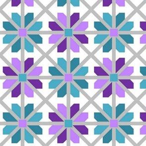 Purple and Blue Lattice Blossoms