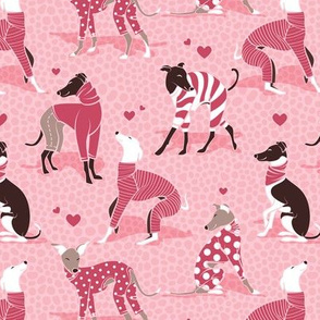 Small scale // In love greyhounds // pastel pink background red dog pyjamas