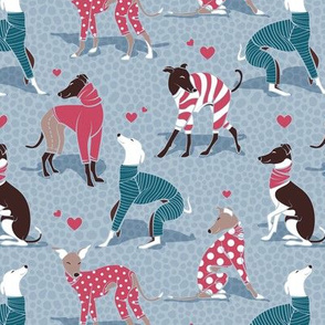 Small scale // In love greyhounds // pale blue background turquoise and red dog pyjamas