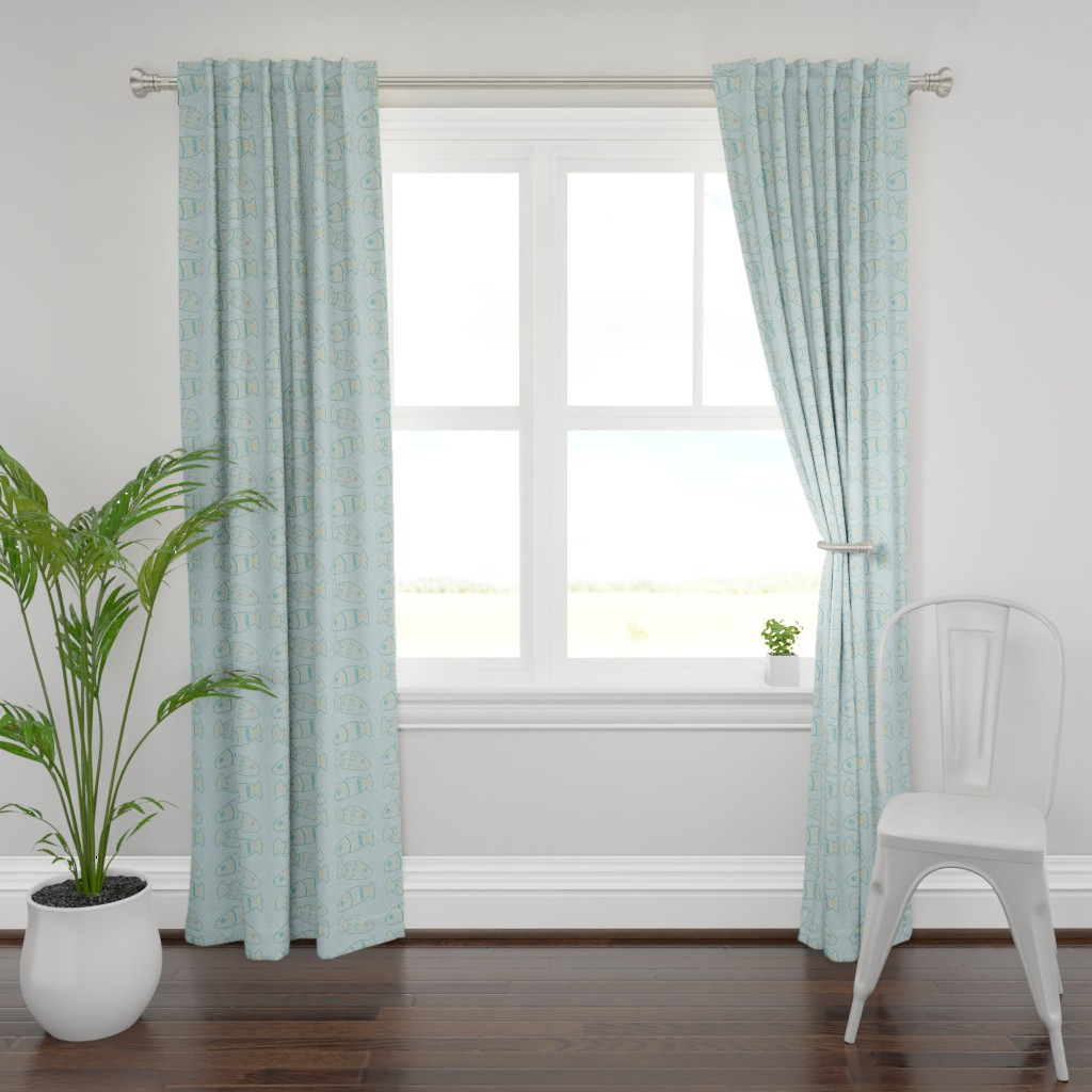 Plymouth Curtain Panel featuring Happy Fish Rows by shelleywinters