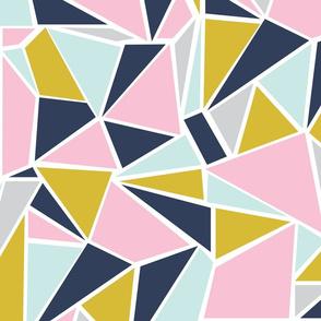 Colour Blocking Navy Pink Mustard