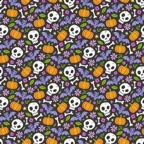 Skulls,Flowers,Pumpkins and Bats Halloween Fall Doodle Purple on Black Tiny Small
