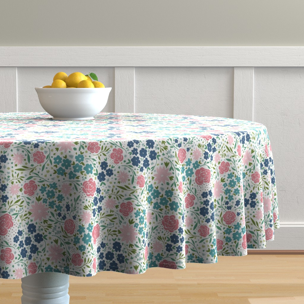 Malay Round Tablecloth featuring enchanting flowers by lzcathcart