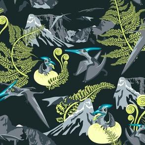 Pteranodon on fern mountain / dark