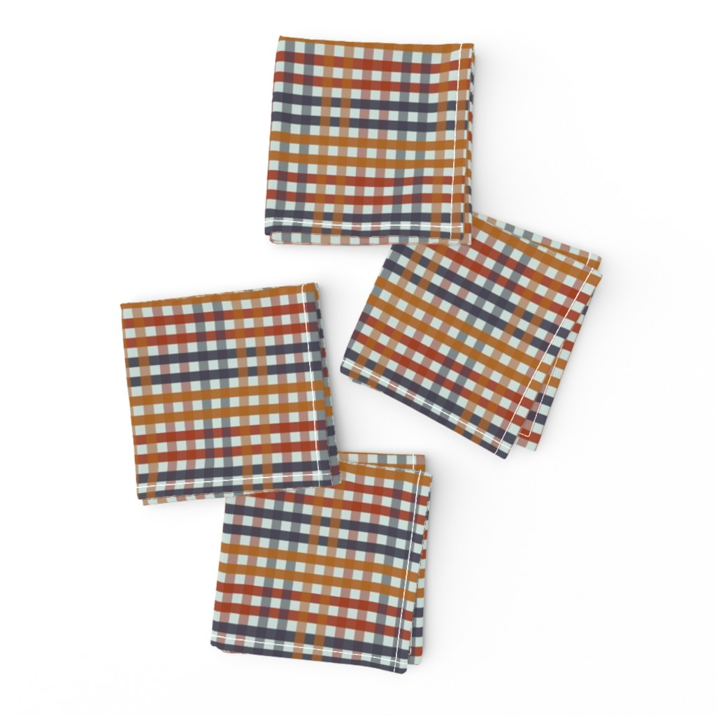 Frizzle Cocktail Napkins featuring Fall Harvest Gingham Plaid by paper_and_frill