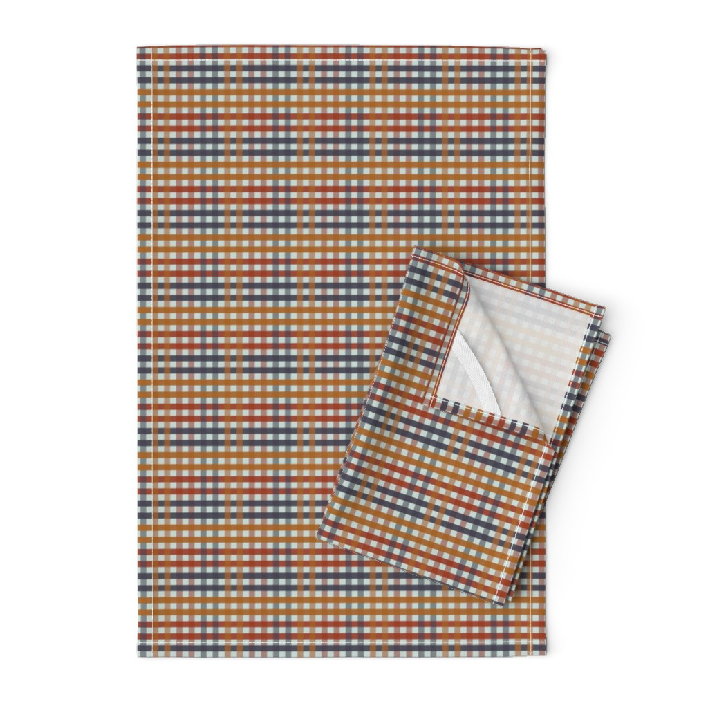 Orpington Tea Towels featuring Fall Harvest Gingham Plaid by paper_and_frill