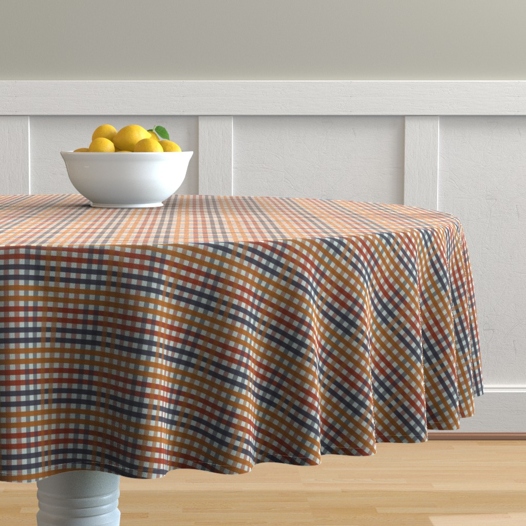 Malay Round Tablecloth featuring Fall Harvest Gingham Plaid by paper_and_frill