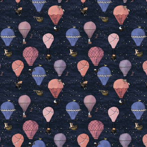 Small Forest Animal Hot Air Balloon Adventure in Pink and Purple