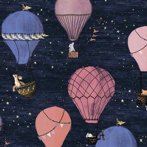 large Woodland Animal Hot Air Balloon Adventure in Pink and Purple, night sky stars, adventure, magic, fox, deer, girl baby shower