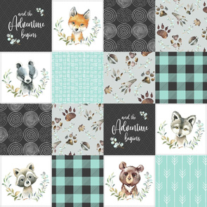 Woodland Animal Tracks Quilt Top – Onyx + Mint Patchwork Cheater Quilt, Style C
