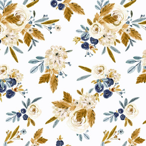 Mason vintage roses blue and mustard 4 inch