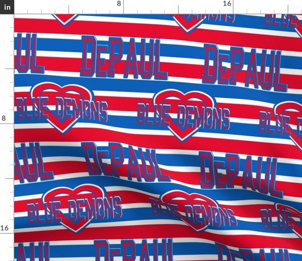 Fabric by the Yard DePaul University Red White Blue Stripe Heart School  Blue Demons Team Colors