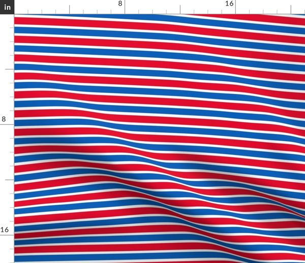 Fabric by the Yard DePaul University Red White Blue Stripe School Team  Colors