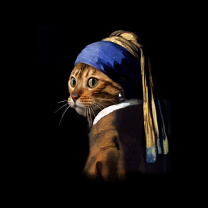 Vermeer Puss With A Pearl Earring Pillow