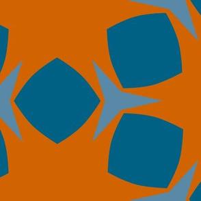 Edonohana (Burnt Orange and Blue Teal)