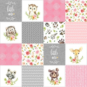 Pink Girls Woodland Cheater Quilt – Little One Blanket Patchwork, Style P