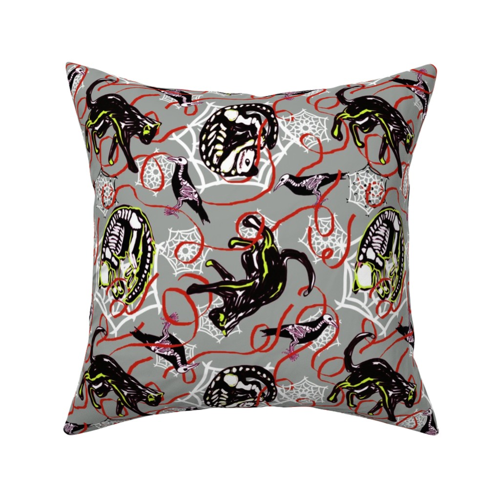 Catalan Throw Pillow featuring skeletal cat movements with webs_crows and ribbons on gray by lorloves_design