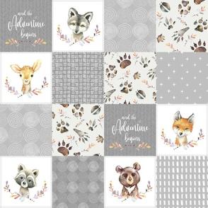 Woodland Animal Tracks Cheater Quilt – Adventure Gender Neutral Gray Patchwork, Style G