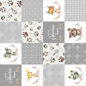 Woodland Animal Tracks Cheater Quilt – Adventure Gender Neutral Gray Patchwork, ROTATED Style G