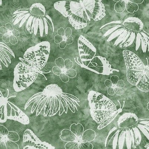 Butterflies and Echinaceas in White on Sage Texture