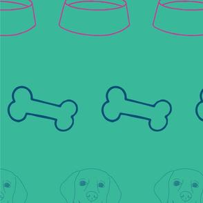 teal dogs life hand drawn golden retriever
