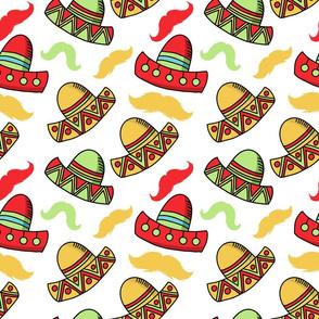 Cinco de Mayo fiesta sombreros and mustaches
