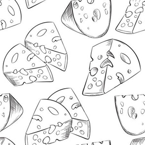 Cheese slices black and white
