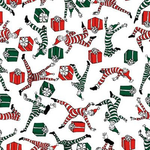 Red and green elves and prezzies on white