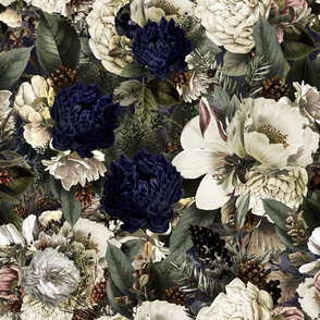 """18"""" Winter Moody Florals Peonies and Roses"""