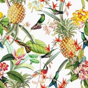 "12"" Vintage Tropical Birds Pineapple Paradise -white"