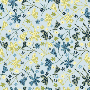Ditsy Flowers Blue Yellow