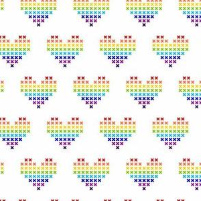 Cross-Stitch Rainbow Hearts