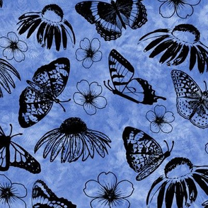 Black Butterflies on Iris Blue Sunprint Texture