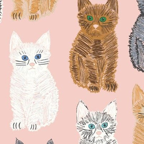 Scribble Kittens - Pink - Large