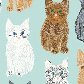 Scribble Kittens - Mint - Large