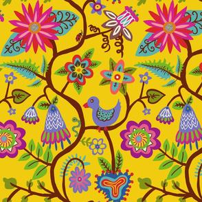 Bird, Vines and Flowers YELLOW
