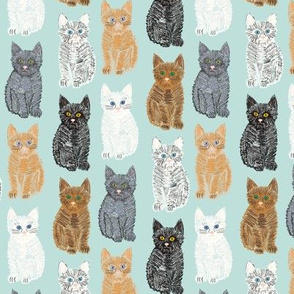 Scribble Kittens - Mint - Small