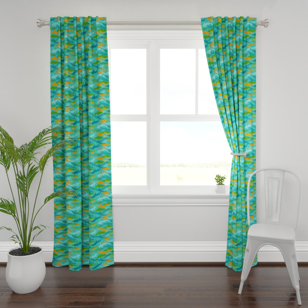 Plymouth Curtain Panel featuring Sharks on Teal Blue by lauriekentdesigns