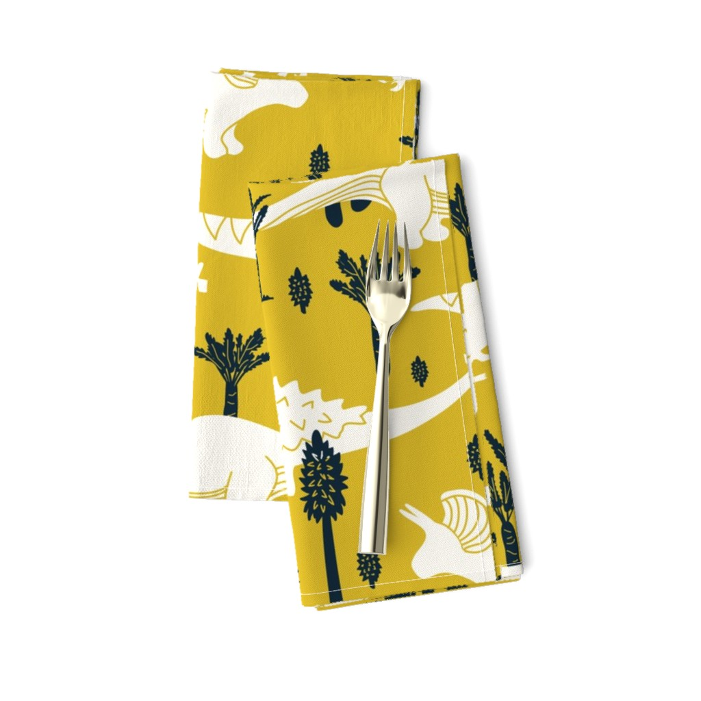 Amarela Dinner Napkins featuring Dinosaurs -Yellow, Navy by fernlesliestudio