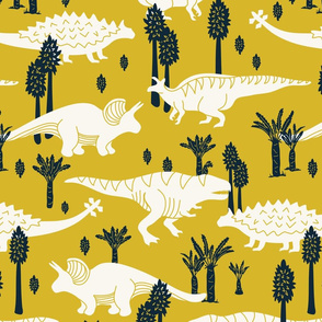 Dinosaurs -Yellow, Navy