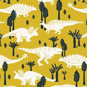 Dinosaurs -Yellow, Navy