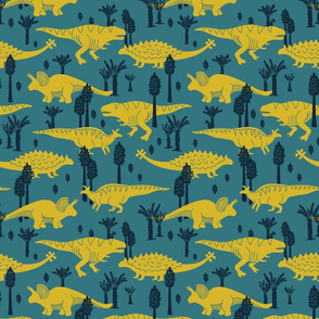 Dinosaurs - Medium - Teal, Yellow