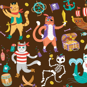 Pirate Cats in Walk the Plank Brown