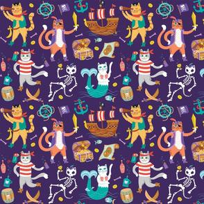 Pirate Cats in Treasure Purple {small}